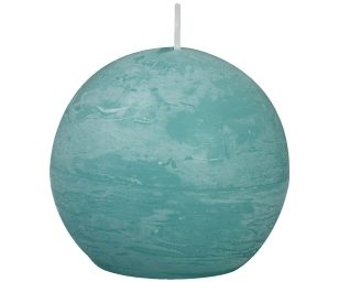 Candela a sfera rustica - d 80mm - ocean.
