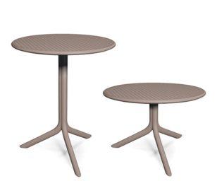 Tavolo con gamba centrale a 3 razze e doppia altezza (standard H cm 73 e mini H cm 40)