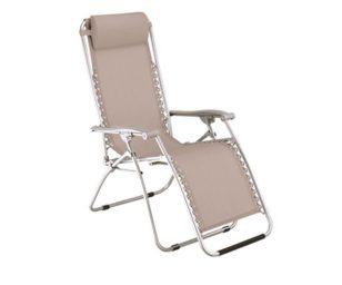 Poltrona pieghevole oscillante in ferro verniciato e seduta in poliestere.