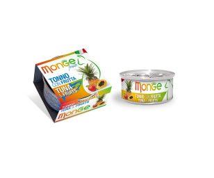 Monge Fruits Tonno con Frutta è un alimento complementare pensato per i gatti più raffinati ed esigenti che completa la gamma Monge Natural Superpremium