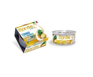 Monge Fruits Tonno con Ananas è un alimento complementare pensato per i gatti più raffinati ed esigenti che completa la gamma Monge Natural Superpremium