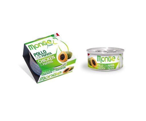 Monge Fruits Pollo con Papaya è un alimento complementare pensato per i gatti più raffinati ed esigenti che completa la gamma Monge Natural Superpremium