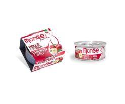 Monge Fruits Pollo con Mela è un alimento complementare pensato per i gatti più raffinati ed esigenti che completa la gamma Monge Natural Superpremium