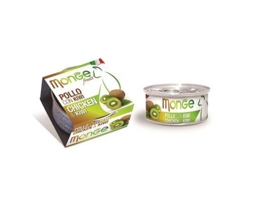 Monge Fruits Pollo con Kiwi è un alimento complementare pensato per i gatti più raffinati ed esigenti che completa la gamma Monge Natural Superpremium