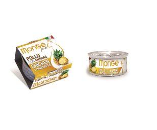 Monge Fruits Pollo con Ananas è un alimento complementare pensato per i gatti più raffinati ed esigenti che completa la gamma Monge Natural Superpremium