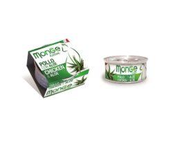 Monge Fruits Pollo con Aloe Kitten è un alimento complementare pensato per i cuccioli più raffinati ed esigenti che completa la gamma Monge Natural Superpremium