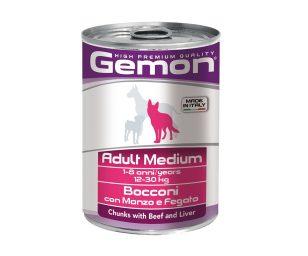 I bocconi con manzo e fegato sono un alimento completo per cani adulti di taglia media