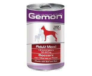 I bocconi con manzo e riso sono un alimento completo per cani adulti di taglia maxi