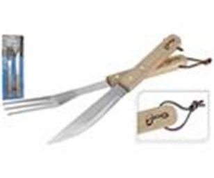 Set 2 utensile da barbecue in acciaio manico legno.