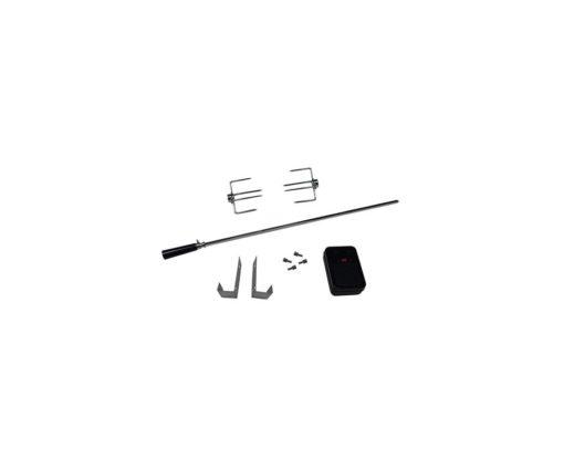 Girarrosto universale con manico e motore a batteria (CE). Necessita di 2 batterie di tipo D (1