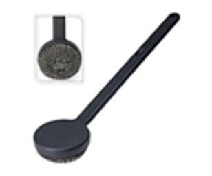 Pratica spazzola metallica rotonda per barbecue 45 cm nera