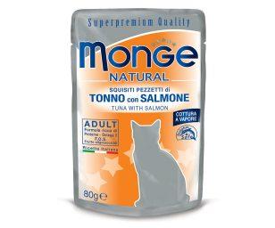 Alimento complementare per gatti adulti con deliziosi pezzetti di tonno con salmone