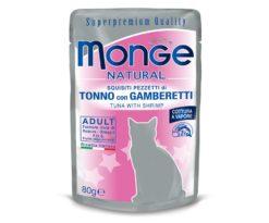 Alimento complementare per gatti adulti con deliziosi pezzetti di tonno con gamberetti