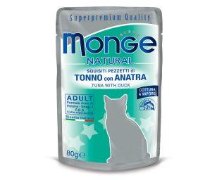 Alimento complementare per gatti adulti con deliziosi pezzetti di tonno con anatra