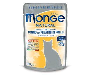 Alimento complementare per gattini con deliziosi pezzetti di tonno con fegatini di pollo