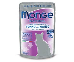 Alimento complementare per gatti adulti con deliziosi pezzetti di tonno con manzo