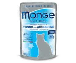Alimento complementare per gatti adulti con deliziosi pezzetti di tonno con acciughine