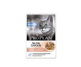 Alimento completo per gatti che vivono prevalentemente in casa. Teneri pezzetti con salmone in salsa.