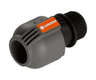 """Il raccordo gardena (25 mm x attacco filettato maschio da 1"""") è utile per collegare alle tubazioni le valvole gardena."""