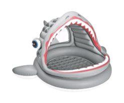 Piscina gonfiabile a forma di squalo con parasole