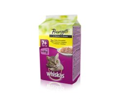 Whiskas pranzetti 7+ dedicato ai gatti a partire dai 7 anni deliziosi pasti completi in pratiche buste da 50g: il formato ideale che permette di servirgli il cibo appena aperto e variare ad ogni pasto