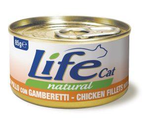Life pet cat pollo con gamberetti 85 g.
