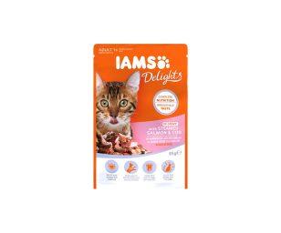 IAMS Delights a base di Salmone e Merluzzo al Vapore in Salsa. Alimento completo e bilanciato al 100%