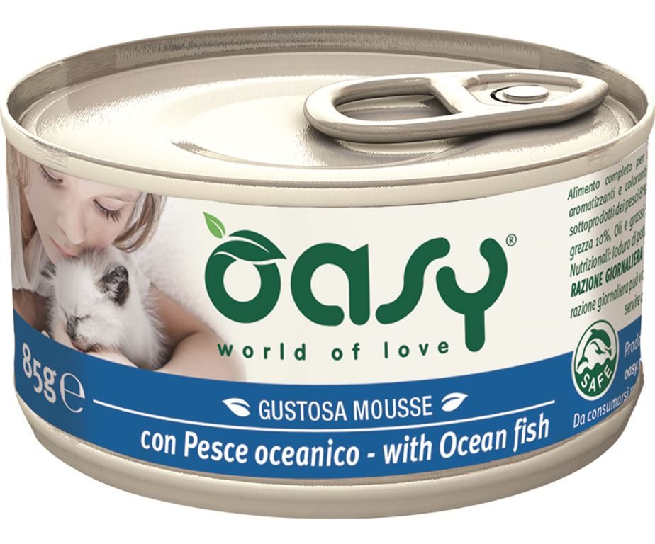 Oasy wet cat mousse con pesce oceanico 85 g.