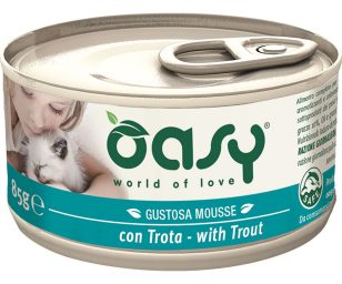 Oasy wet cat mousse con trota 85 g.