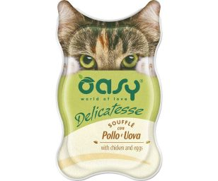 Oasy wet cat delicatesse soufflé con pollo e uova 85 g.