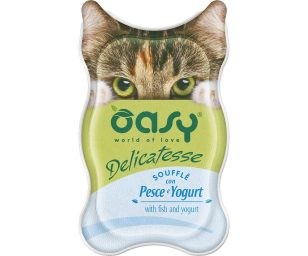 Oasy wet cat delicatesse soufflé con pesce e yogurt 85 g.