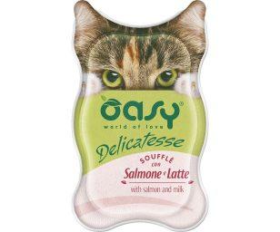 Oasy wet cat delicatesse soufflé con salmone e latte 85 g.
