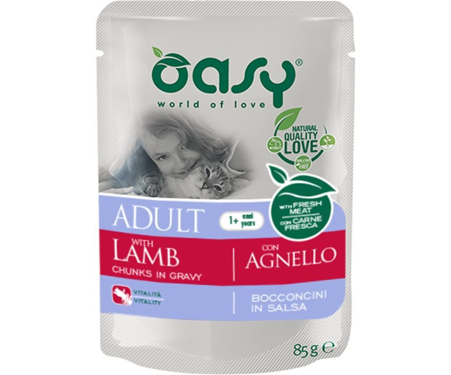 Oasy wet cat bocconcini adult agnello 85 g.