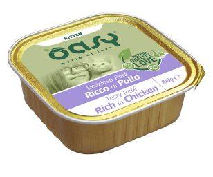 Oasy wet cat patè per gattini ricco di pollo 100 g.
