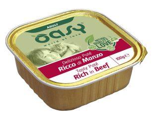Oasy wet cat patè ricco di manzo 100 g.