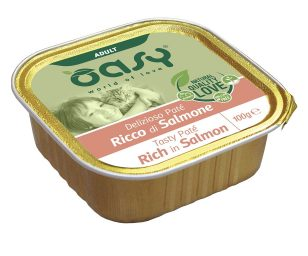 Oasy wet cat patè ricco di salmone 100 g.