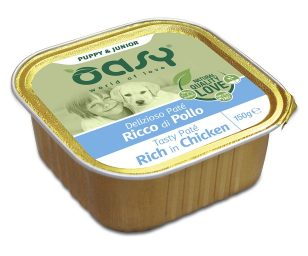 Oasy wet dog patè puppy ricco di pollo 150 g.