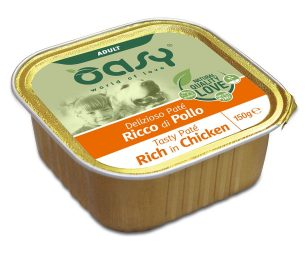 Oasy wet dog patè ricco di pollo 150 g.