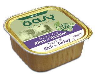 Oasy wet dog patè ricco di tacchino 150 g.