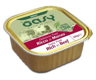 Oasy wet dog patè ricco di manzo 150 g.