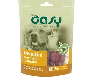 Oasy snack dog involtini con filetto di anatra 100 g.