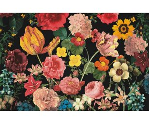 Tappeto gallery fiori sfondo nero cm 44x67.