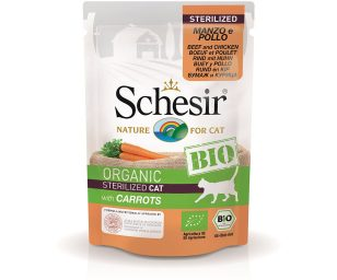 Schesir sterilized cat bio manzo pollo carote 85 g.