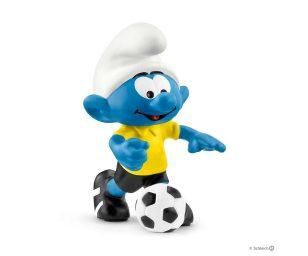 Puffo calciatore con pallone.