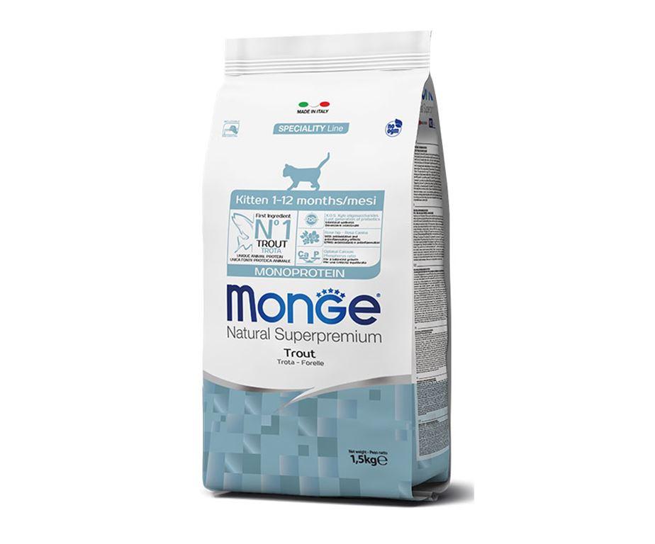 Monge natural superpremium monoprotein kitten trota è un alimento completo e bilanciato per gattini.