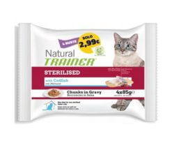 Trainer natural cat sterilised with codfish 4x85 g.