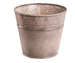 Vaso metallo rosa laccato cm 16x14.