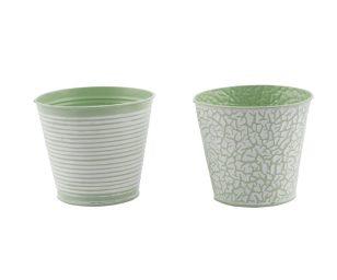 Vaso metallo bianco verde cm 13x12.