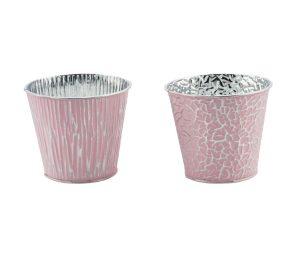 Vaso rosa argento cm 13x12.