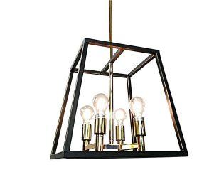 Lampadario ferro nero e oro 4 lumini cm 38x38x38h.